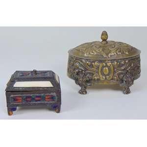 Lote com 2 caixa de metal - maior 13 cm alt, 16 x 12 cm.