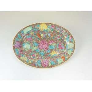 Travessa de porcelana Chinesa com fundo dourado, flores coloridas pintadas á mão - 41 cm de comp.