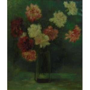 Joubert - Vaso de flores , óleo sobre tela/ CID. Europa Séc XX - 49 x 41 cm.