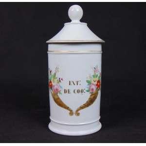 Pote de porcelana esmaltada para artigos de farmácia. Europa Sec XIX. - 28 cm alt, 14 cm diâm.