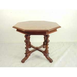 Mesa lateral de madeira de lei oitavada estilo e época Império - 74 cm alt - 97 cm diâm.