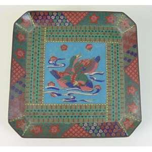 Prato oitavado cloisoneé - Japão - 31 x 31 cm.