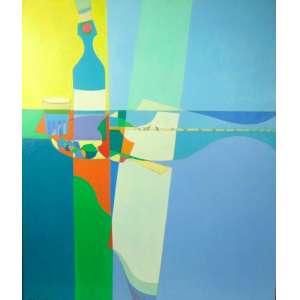 ALBERTO D AVILA - Composição com peixe, garrafa, copo e prato - OST /CIE - Década de 1970 - 100 X 85 cm.(era da sala da diretoria da Olivetti)