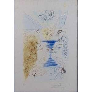 SALVADOR DALI - Os Amantes - Importante obra com intervenção em pó de ouro, litografia assinada a lápis / CI D, prova de artista. 50 x 35 cm.