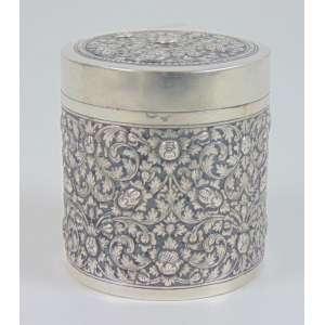 Caixa circular de prata persa - 8 cm alt, 8 cm diâm.