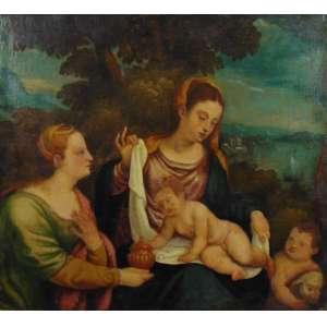 ANÔNIMO - Cena Bíblica - OST - Itália - Séc. XVIII - 84 x 92 cm. (restauros e moldura no estado)
