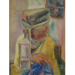 YOLANDA MOHALYI - Figura Masculina - Técnica mista: Guache,ecoline e aquarela/Sem assinatura, com selo de autenticidade do Espólio da autora(Barbara Bartzachi) - 60 x 47 cm.