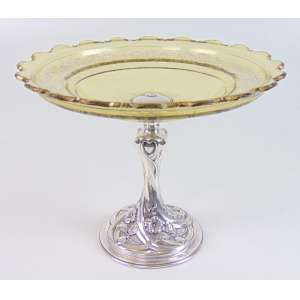 FABERGE ATELIER - Belo centro de mesa de cristal âmbar finamente esmaltado base em prata de lei cinzelada ao gosto Art Noveaux , contrate 84 e marca do atelier de FABERGE - 21 cm diâm. Russia Sec XIX.