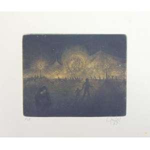 Gruber -S/T - Gravura em metal - P.A - Ass CID - 1963 - 19 x 34 cm.(pequena mancha amarelada - não emoldurada)