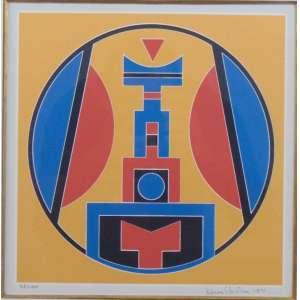 Rubem Valentim - Emblema com fundo amarelo - serigrafia - 58/100 - Ass. inf. dir - 1991 - 25 x 25 cm.