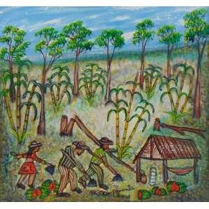 NILSON PIMENTA - Arte popular - Paisagem com figuras = OST/Assinado centro inferior - 40 x 42 cm.
