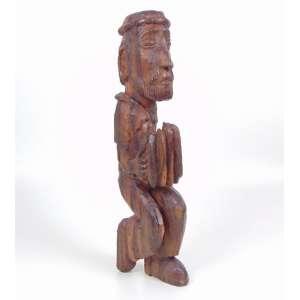 Jadir João Egídio - Sanfoneiro - Escultura em madeira - ass. na perna esquerda (JJE) - 50 cm de alt.
