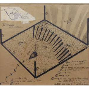 Artur Barrio - Sem titulo - Nanquim e papel - grampeado sobre papel colado em cartão - Ass. dat. 1977 inf. esq. 1977 - 44,5 x 49,5 cm.