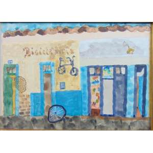 Thomaz Iannelli - Bicicletaria - aquarela s/papel - Ass. CID - Reproduzido no livro Capitanias de Mar e Serra (Rhodia - 1976) acompanha o livro - 24 x 34 cm.