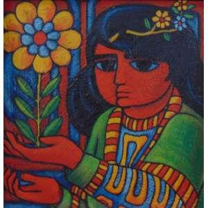 WELLINGTON VIRGOLINO - A Menina E A Flor - OSE - ass. verso - 1969 - 19x19 cm