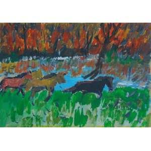 RANCHINHO - Arte Popular - Queimada com cavalos - Guache s/ cartão/CID - dat 1979 - 35 x 50 cm. (moldura no estado com vidro quebrado)