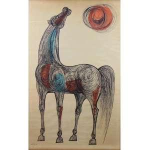 LOIO PERSIO - Cavalo - Tecnica mista s/ papel - ass.CIE - 1958 - 86 x 55 cm.