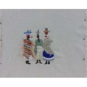 Gabriel Pessagno - Figura de Debret - bordado s/tecido s/madeira - 32 x 31 cm.