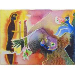 MARIA THOMASELLI - Homem preto - Aquarela/CIE - Dat. 1990 - 14 x 20 cm.