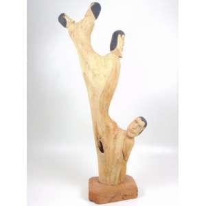 Aberaldo - Coluna com figuras - Escultura em madeira - Ass - 114 cm alt.