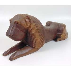 Anézio Julião - Leão - Escultura em madeira - Ass - 15 x 60 cm