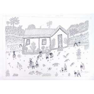 Zica Bérgami - Festa na Fazenda - nanquim s/ papel - Ass. inf. dir - 2002 - 30 x 41 cm - não emoldurado.