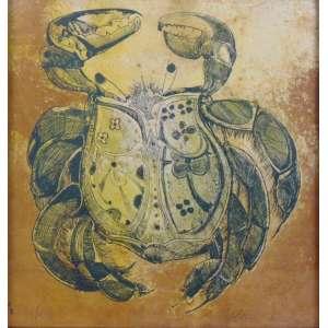 Aldemir Martins - Caranguejo - Litografia - 19/30 - Ass. Cid - 1968 - 43 x 41 cm - apresenta pequenas manchas amareladas.