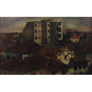 Carlos Prado -Roofs- Óleo sobre placa - Assinado e datado no canto inferior direito, 1943 - Ex-coleção Yara Bernette - 38 x 59 cm.