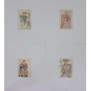NOÊMIA MOURÃO - Figuras de tarot - Lote com 4 desenhos em técnica mista s/papel - ass.CID - 15 X 11 cm cada, (não emoldurados)