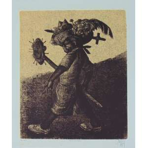 Gruber - Menino com Chapéu - Litografia - 14/50 - Ass. CID - 1975 - 70x 59 cm . pequenas manchas amareladas - não emoldurada