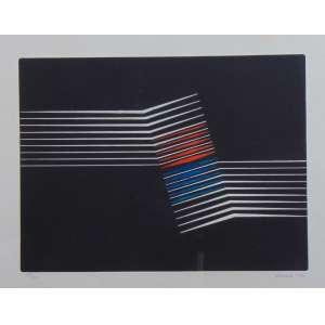 CHAROUX - S/T - Serigrafia/CID - dat 1973 - 19/100 - 52 x 77 cm - Paspatur com marcas do tempo.