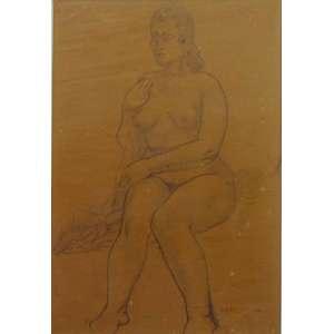 Alfredo Rizzotti -Figura de mulher- Lápis sobre papel, assinado no canto inferior direito - 44 x 30 cm. Participou de exposiçãoO grupo Santa HelenaMAM - SP 1995, descrito no catálogo á exposição pg 52.