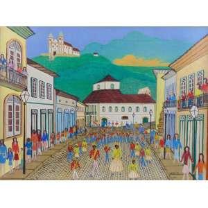 Hezir Gomes - Festa do Chico Rei - Ouro preto - Óleo sobre tela - Ass. dat - 1971 - 46 x 61 cm - Com etiqueta da XIX Salão de Belas Artes de Piracicaba no verso.