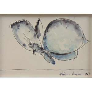 Aldemir Martins - Borboleta - Aguada de Nanquim s/papel - Ass. CID 1967 - 10 x 15 cm.