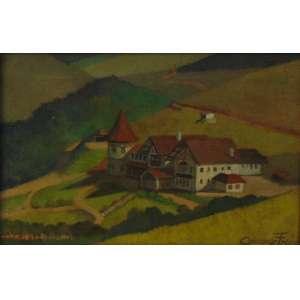 Camargo Freire -Hotel Vila Inglesa, Campos do JordãoÓleo sobre tela, assinado no canto inferior direito, cerca de 1940 - 27 x 40 cm.