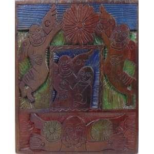 Romildo Ferreira de Albuquerque - Sem titulo - Madeira entalhada e pintada - Ass - 35 x 40 cm.