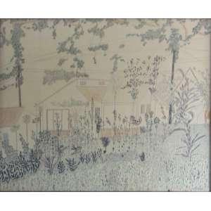 Arnaldo Pedroso da Horta -Casas e JardimTéc. mista sobre papel - Assinada CID - Datada 1953 - 46 x 60 cm. Obs. Apresenta pequena rasura na lateral direita.