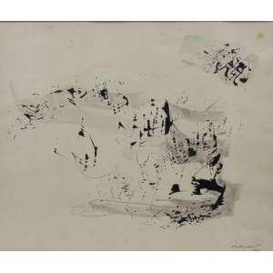 Anatol Wladyslaw - Composição - Desenho a nanquim e aguada - Ass. dat - 1962 - 32,5 x 40 cm.