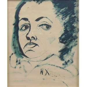 Niobe Xandó - Auto Retrato - aguada de Nanquim s/papel - Ass. no centro inferior 1958 - 25 x 20 cm.