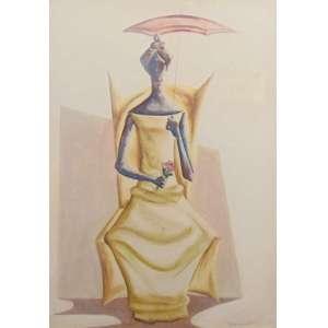 CLOVIS GRACIANO - Figura feminina - Guache / CID - dec 1960 - 58 x 43 cm - catálogado