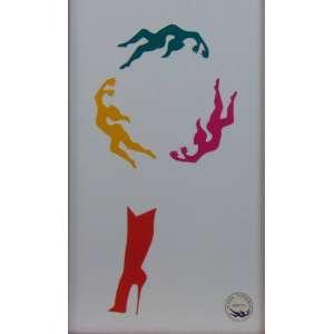 Alex Vallauri - Composição com 4 adesivos Alex Vallauri Graffiti - 39 x 23 cm. Emoldurado.