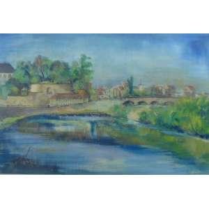 HEINZ KUHN - paisagem do Sarre- Guache s/cartão/CIE - dat 1946 - 39 x 49 cm. Com etiqueta Paulo Figueiredo Galeria de Arte no verso.