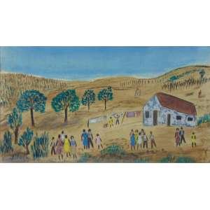 SILVIA DE LEON CHAURREO - Paisagem com figuras e casa - Técnica mista s/ cartão, CIE - datado 1953 - 15 x 26 cm.