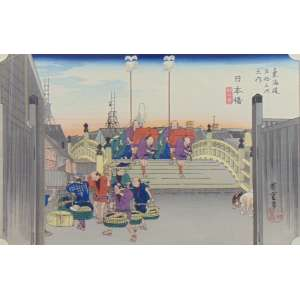 Hiroshige - Nihonbashi - From The 53 Stages Of Takaido Series - Xilogravura 26,1 x 38,7 cm - Século IX