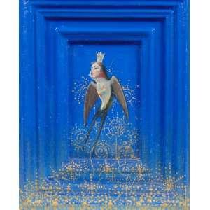 Edu Cardoso - Andorinha - OST e moldura pintada - Ass. no verso - 24 x 19 cm