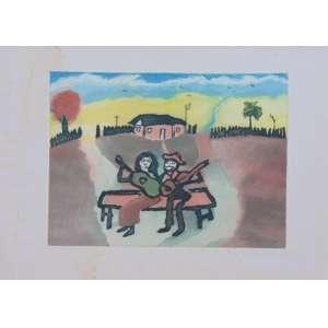 José Antonio da Silva - Casal Sertanejo - gravura em metal, aquarelada a mão - 78/100 - Ass. CIE - 28 x 28 cm (medidas internas) - apresenta mancha no paspatur da gravura - não emoldurada