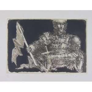 Marcelo Grassmann - Guerreiro - Gravura em metal - Ass. CID - 28/60 - pequenas manchas no Passpatour - (não emoldurada) - 38 x 53 cm.