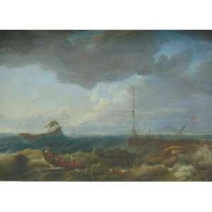 JOSEPH VERNNET - 1714 - 1789 (ATRIBUÍDO) - Marinha - OST - 96 x 1,33 cm . Acompanha xerox do certificado emitido em 1973 por Pietro Maria Bardi que lhe da origem do Studio di Arte de Palma de Roma do qual o mesmo foi presidente e que provem da Coleção do Principe Chigi que foi grão mestre da ordem de Malta