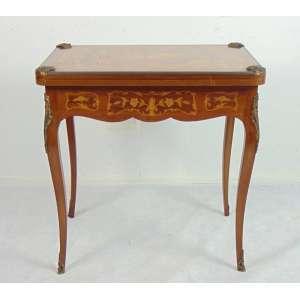 Mesa marchetada reversível a mesa de jogo - 73 cm alt, fechado 72 x 48 cm, aberta 72 x 96 cm.