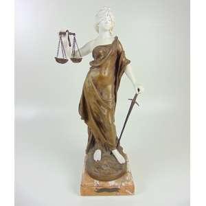 MOREAU August - LA JUSTICE - Escultura de petit bronze dourado e biscuit , sobre base de mármore .França Sec XIX - 51 cm de alt.